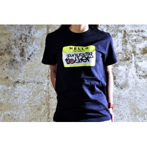 TSHIRT YOUR FUCKING MOTHER DARK BLUE/FLUOR YELLOW